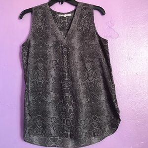 Snake skin fabric sleeveless blouse